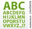 Green Leaves  font. Vector illustration. - stock photo
