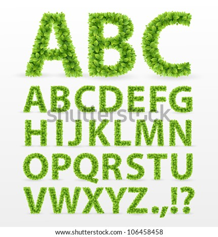Green Leaves  font. Vector illustration. - stock vector
