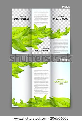 Green leaves for tri-fold nature spring brochure template design