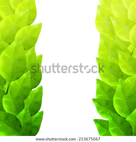 Green leaves frame. Watercolor artistic vector texture.