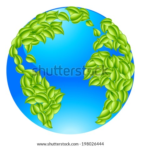 Green leaves globe earth world. Conceptual illustration of a globe with leaves forming the continents - stock vector