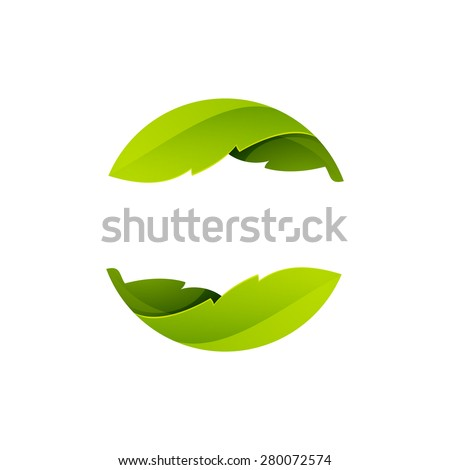 Green leaves icon. Abstract sphere logo, volume icon design template element - stock vector