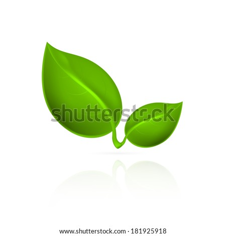 Green leaves icon. EPS10 vector. - stock vector
