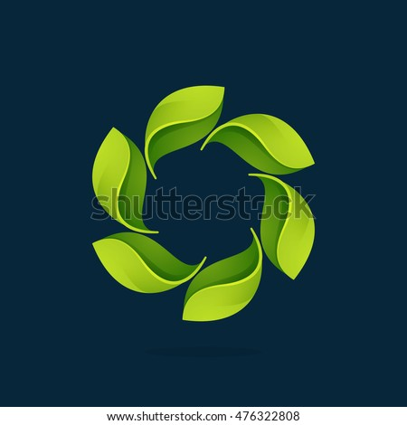 Green leaves in a swirl circle logo. Vector ecology elements for banner, presentation, web page, card, labels or posters.