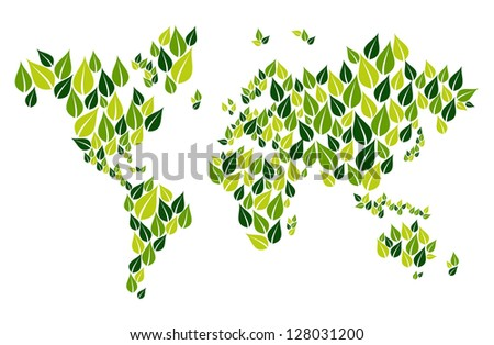 Green leaves in world map shape isolated over white. Vector file layered for easy manipulation and custom coloring. - stock vector