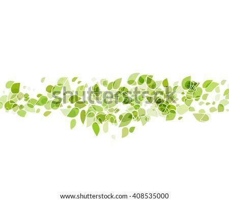 green leaves line - stock vector