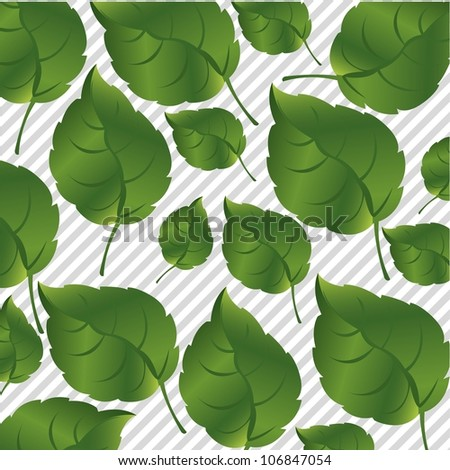 Green leaves on a background of gray lines, vector illustration - stock vector
