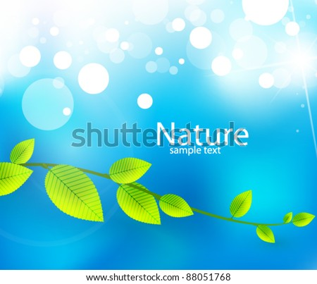 Green leaves on blue sky. Vector fresh nature background - stock vector