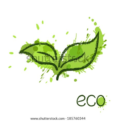 Green leaves over paint splashes. Eco concept - stock vector