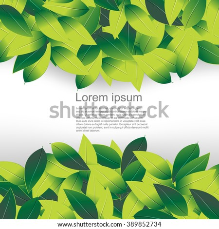 green leaves overlapping creating a frame in the middle eps10 vector background