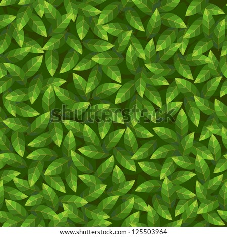 Green leaves pattern. Seamless vector. - stock vector