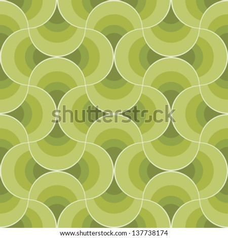 Green leaves retro ornament. Seamless pattern. Vector. - stock vector