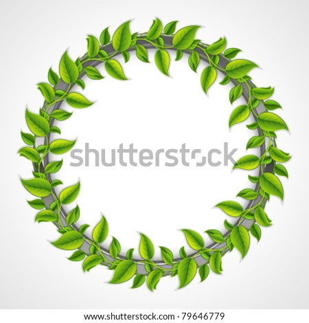 Green leaves round frame. Vector background Eps 10. - stock vector