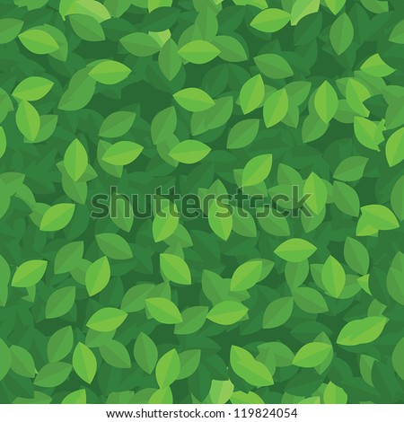 Green leaves seamless background pattern. Vector image. - stock vector