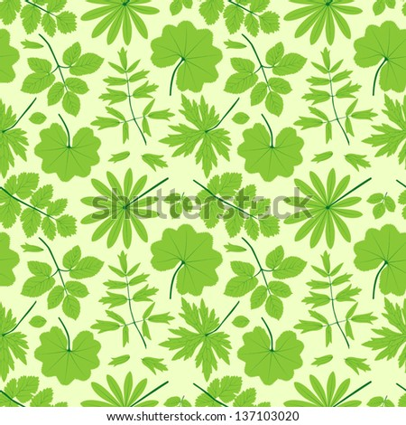 Green leaves seamless pattern. Summer vector background.