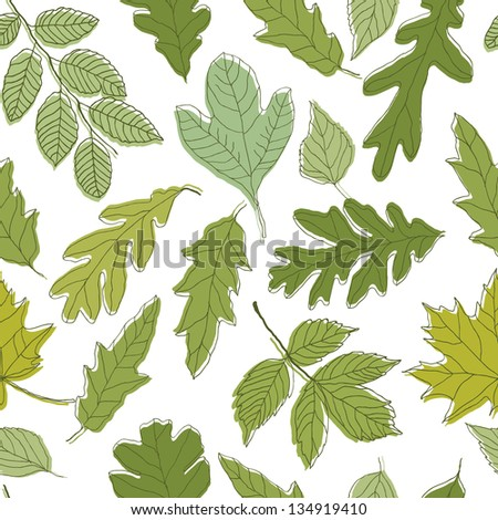 Green leaves seamless vector background