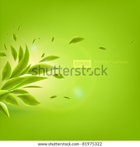 Green leaves. Vector background Eps 10. - stock vector