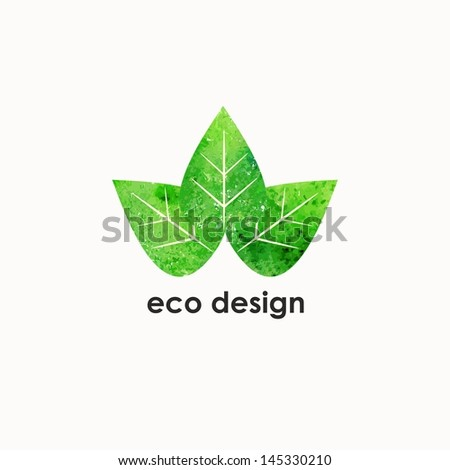 Green leaves. Watercolor summer illustration. Eco design template. - stock vector