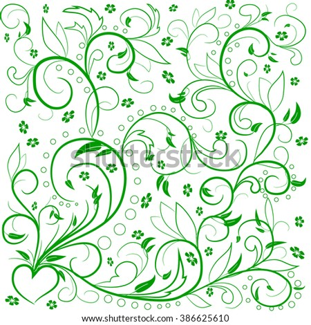 Green leaves with abstract swirls, leaves, flowers and heart on a white background. Can be used as a background, decor, decoupage, textile, invitation. - stock vector