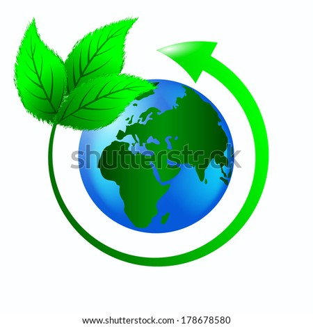 green leaves with an arrow around the planet earth to protect the ecology