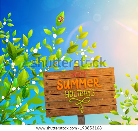 Green Leaves with Beetle, Dew, Sunshine and Blurred Blue Sky.  - stock vector