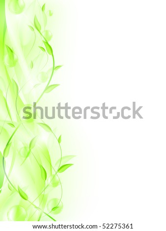 Green leaves with bubbles and copyspace for your text. EPS 10 - stock vector