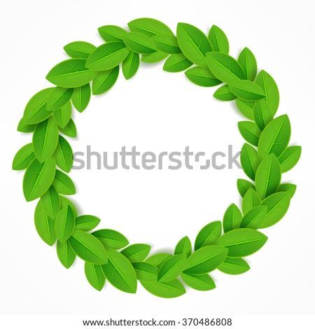 Green leaves wreath on white. Vector illustration - stock vector