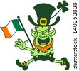 Green Leprechaun running and waving an Irish flag to celebrate Saint Patrick's Day - stock vector