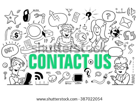 "Green Letters ""Contact Us"" in Doodle Style. Group of Funny Cartoon People. Black and White Sketch. Vector Illustration for Support Page Design"