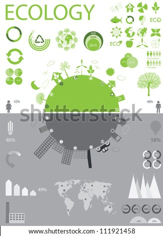 green life vs. pollution - stock vector