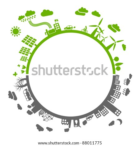 green life vs. pollution - with space for your text - sustainable development concept - stock vector