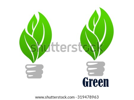 Green light bulb abstract icon with fresh leaves, for environment or save energy concept design