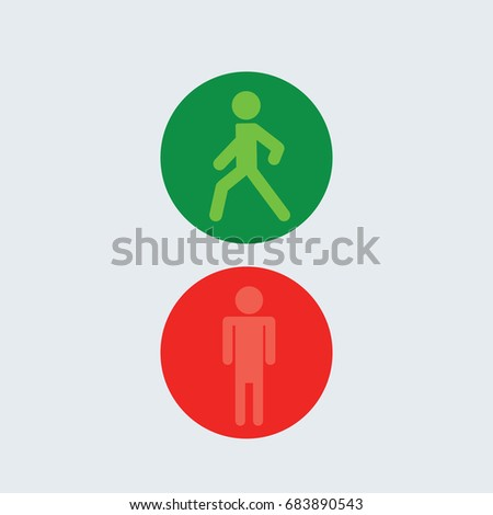 Green Light Character Going Red Stop Stock Vector 683890543