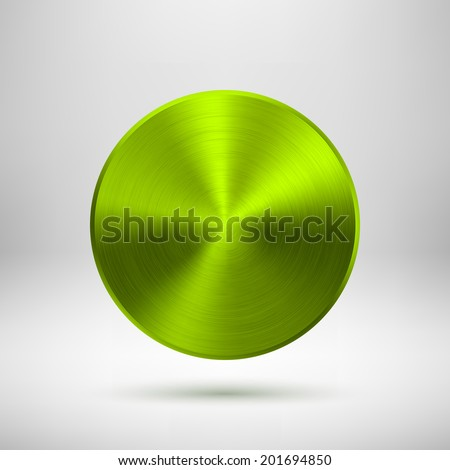 Green (lime) abstract technology circle button template with metal texture (chrome, steel, silver), realistic shadow and light background for web user interfaces (UI) and applications (apps). - stock vector