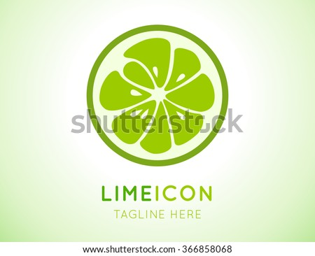 Green lime logo. Logotype for citrus company. Refreshing yummy tropical summer fruit. Cocktail ingredient. Vector design illustration - stock vector