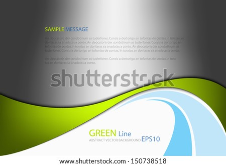 Green line background on gray modern graphic background for texture and pattern design. message board for text and message design - stock vector
