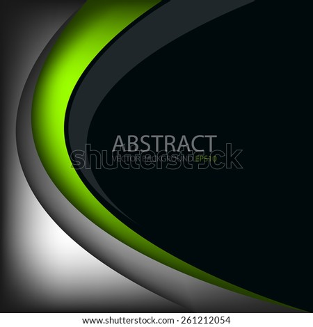 Green line vector background on black space grey silver background overlap layer paper for text and message modern design - stock vector