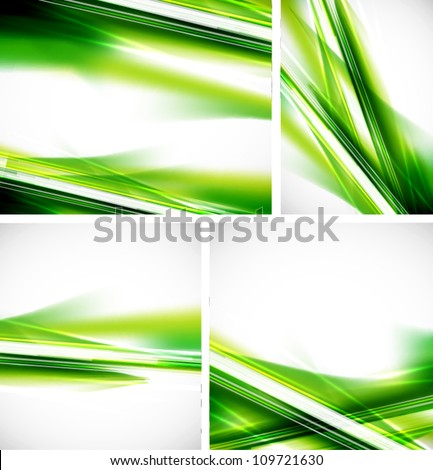 Green lines background set - stock vector