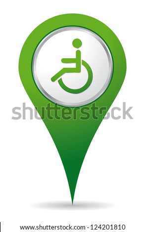green location handicap icon for maps - stock vector
