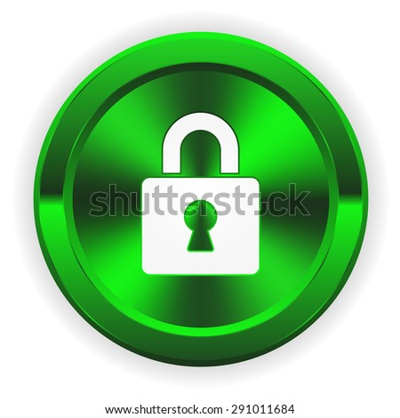Green login button with icon on white background - stock vector