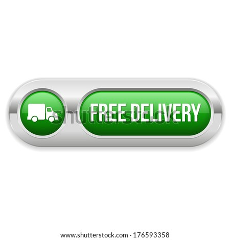 Green long free delivery button with metallic border