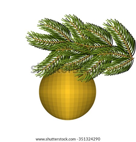 Green lush spruce and gold ball ornament for Christmas and new year. Holiday tree. - stock vector