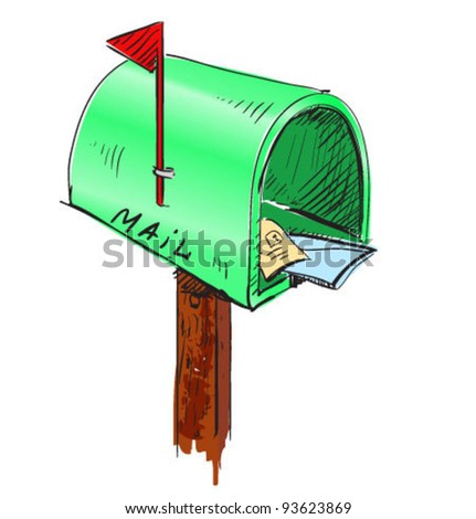 Green mailbox cartoon icon. Sketch fast pencil hand drawing illustration in funny doodle style - stock vector