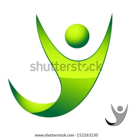 green man icon - stock vector