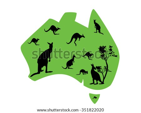 green map of Australia with lots of kangaroos - stock vector