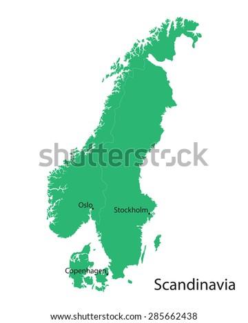 green map of Scandinavian countries - stock vector