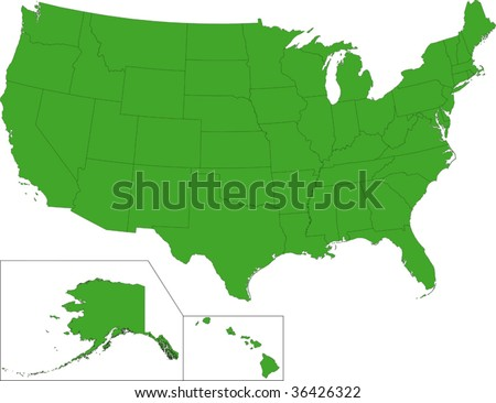 Green map of the United States of America with state borders - stock vector