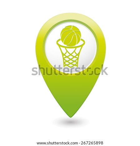 Green map pointer with basketball basket and ball sign icon. - stock vector