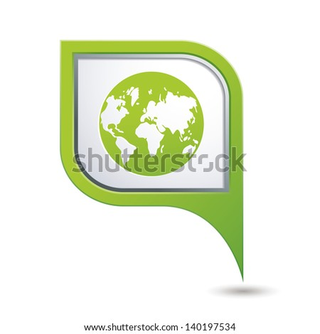 Green map pointer with earth globe icon. - stock vector