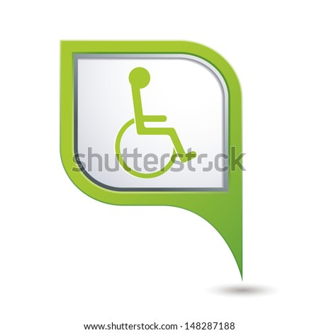 Green map pointer with handicap icon. Vector illustration - stock vector